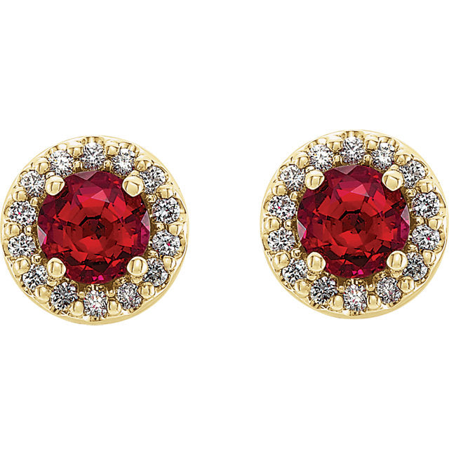 14k Yellow Gold Ruby & Diamond Halo Earrings