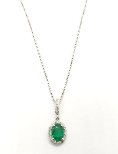Oval Cut Emerald & Diamond Halo Pendant