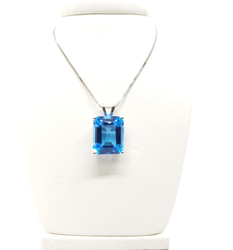Emerald Cut Swiss Blue Topaz Pendant w/ Split Bail
