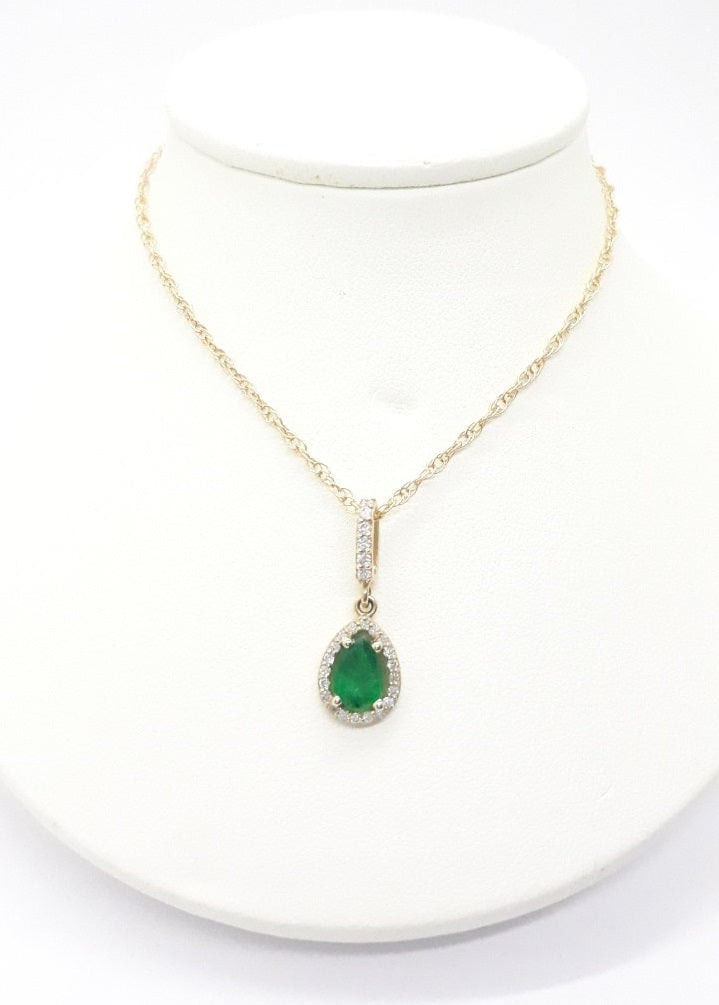 Emerald & Diamond Pear Shaped Halo Pendant