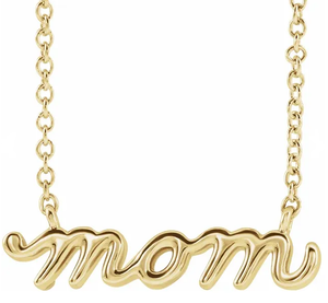 "Petite Mom Script 16""-18"" Necklace"