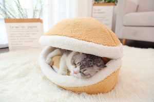 HOT SALE!!!Hamburger Pet Cat Bed with Cover Removable,Warm Shell Cave Kitten Sleeping Bag(It is also suitable for small dogs)