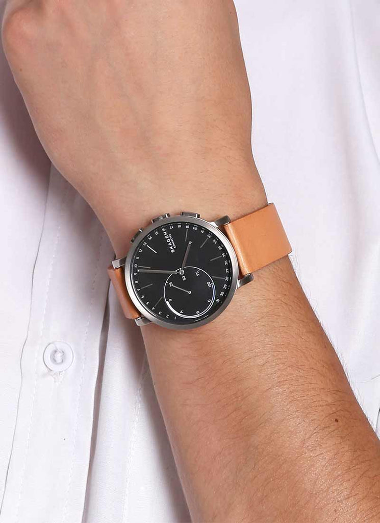 Smartwatch With Brown Leather Strap For Men