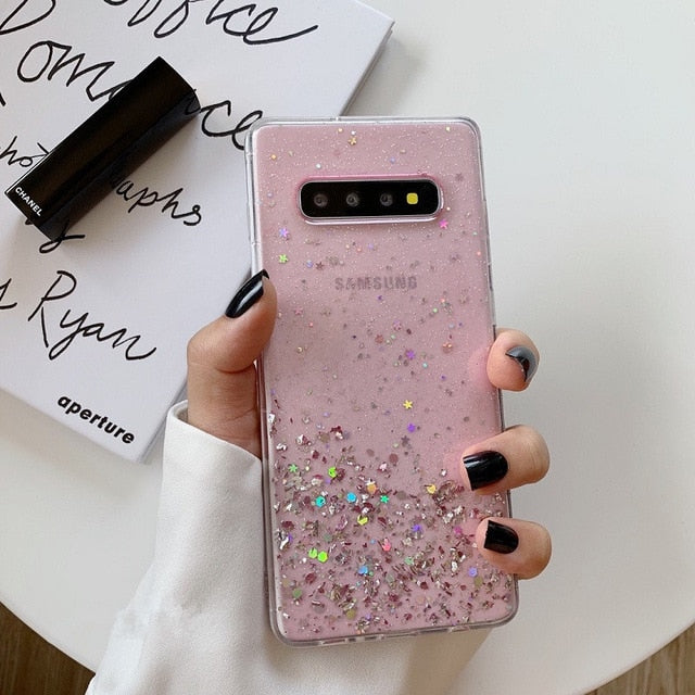 Glitter Bling Sequins Phone Case For Samsung Galaxy Silicone Clear Luxury Case Cover