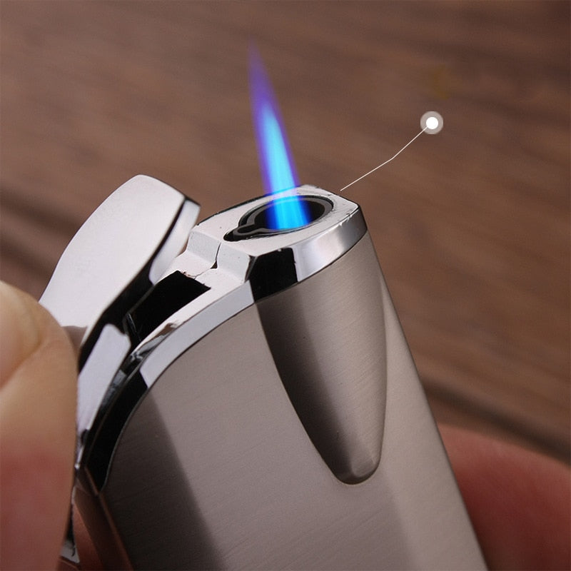 """Broad"" Luxury Inflatable Lighter - Metal Refillable with Blue Turbo Flame"