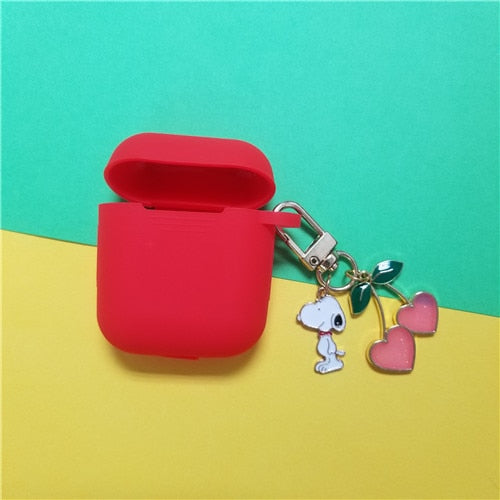 Cute Cherry Dog Pendant Silicone Case for Apple Air pods
