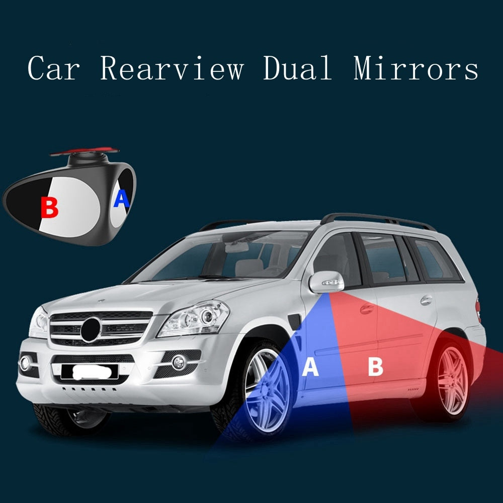 1 Piece 360 Degree Rotatable 2 Side Car Blind Spot Convex Mirror