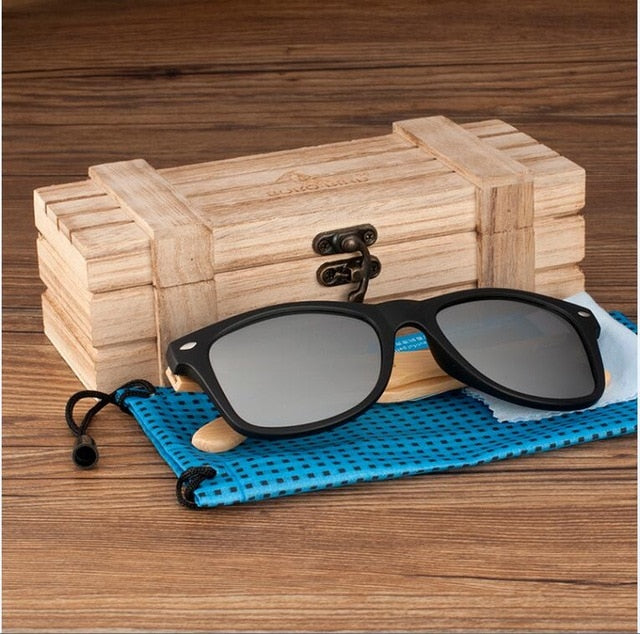 Women sun glasses Wood Bamboo Sunglasses Lady Mirrored Polarized Eye wear