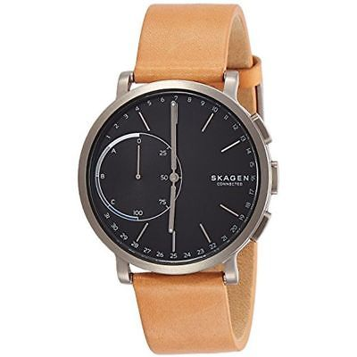 Hybrid Smartwatch With Brown Leather Strap For Men