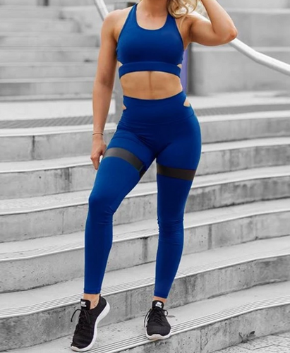 Legging Bra Two Piece Set - NEW!! Blue With Black Stripe on Legging