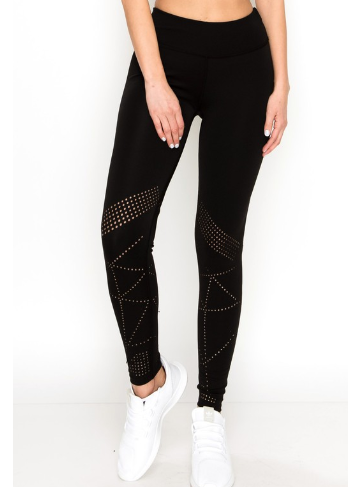 Laser Cut Active Legging - Black