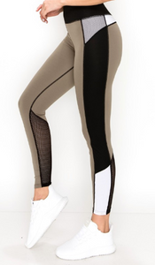 Sexy Active Legging - Sage with Black Stripe