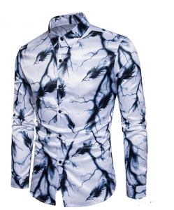 Flash Printed Men's Fashion Shirt - Long Sleeve