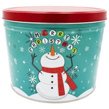 Load image into Gallery viewer, Cheery Snowman Two Gallon Holiday Popcorn Tin