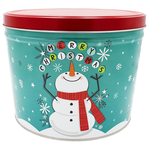 Cheery Snowman Two Gallon Holiday Popcorn Tin