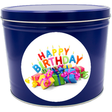 "Load image into Gallery viewer, ""Happy Birthday"" Two Gallon Popcorn Tin"