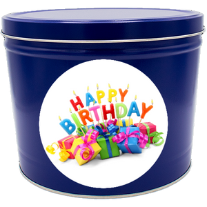"""Happy Birthday"" Two Gallon Popcorn Tin"