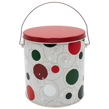 Load image into Gallery viewer, Jolly Dots One Gallon Holiday Popcorn Tin