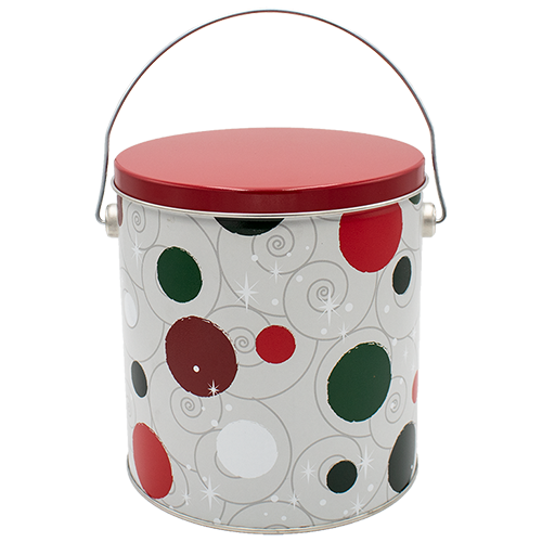 Jolly Dots One Gallon Holiday Popcorn Tin