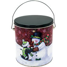 Load image into Gallery viewer, Penguin's Present One Gallon Holiday Popcorn Tin