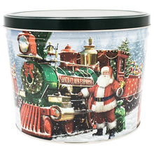 Load image into Gallery viewer, Santa Express Two Gallon Holiday Popcorn Tin