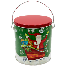 Load image into Gallery viewer, Sparkly Santa One Gallon Holiday Popcorn Tin