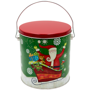 Sparkly Santa One Gallon Holiday Popcorn Tin