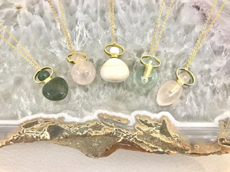 Semi Precious Essential Oil Bottle Necklaces