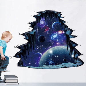 【BUY TWO FREE SHIPPING】3d window outer space galaxy planet wall sticker for kids ch(Ten kinds of style)