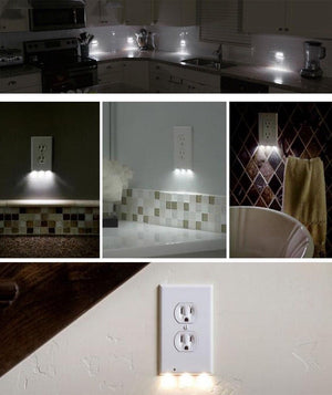 [LOWEST PRICE]-OUTLET WALL PLATE WITH LED NIGHT LIGHTS-NO BATTERIES OR WIRES [UL FCC CERTIFIED]