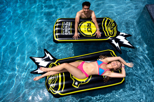 RIOT Energy. Two custom RIOT floaties in the pool with guy and girl