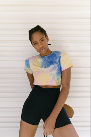 CROP TOP TIE TYE RAINBOW