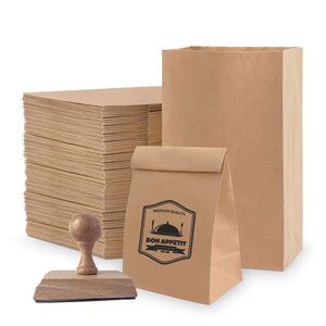 Kit 100 Bolsas Kraft (Café) Delivery y Sello