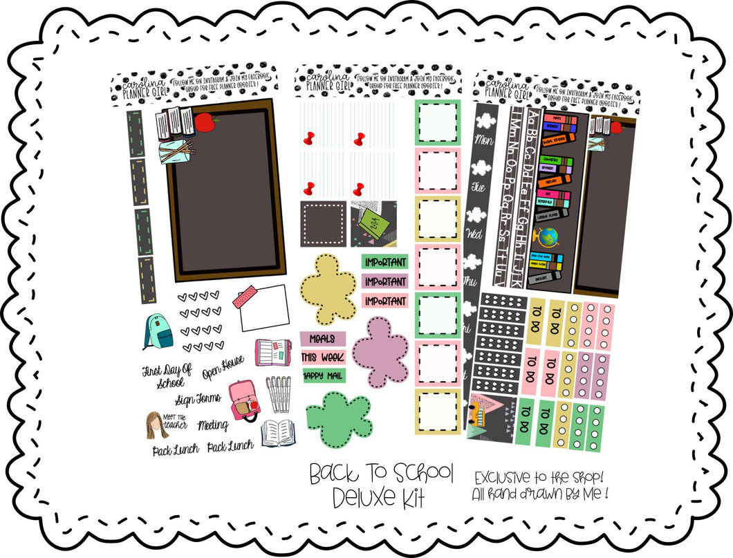 Back To School Deluxe Hobonichi Kit, Printable Stickers