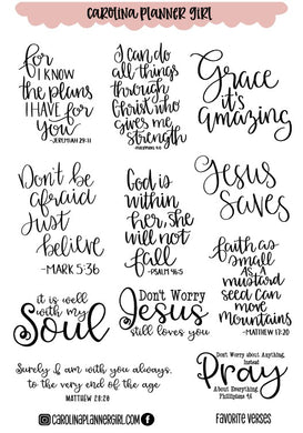 Favorite Bible Verses and Inspiration-PRINTABLE