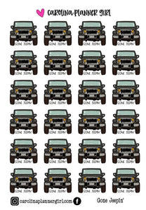 Jeep Doodles, Printable Stickers
