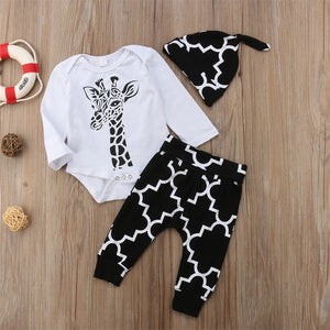 Deer long sleeve Romper Pants Hat Outfits