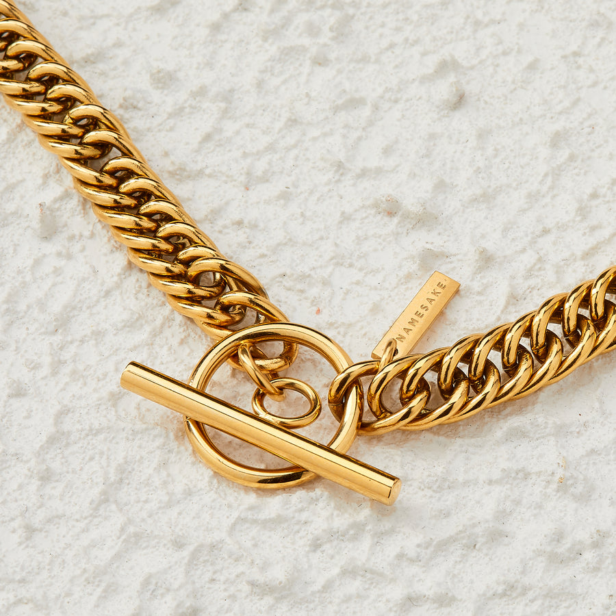 SASHA T-BAR DROP NECKLACE | GOLD | 50CM