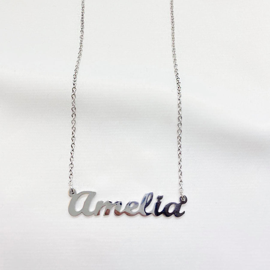 NAMESAKE CUSTOM CURSIVE NECKLACE | silver stainless steel