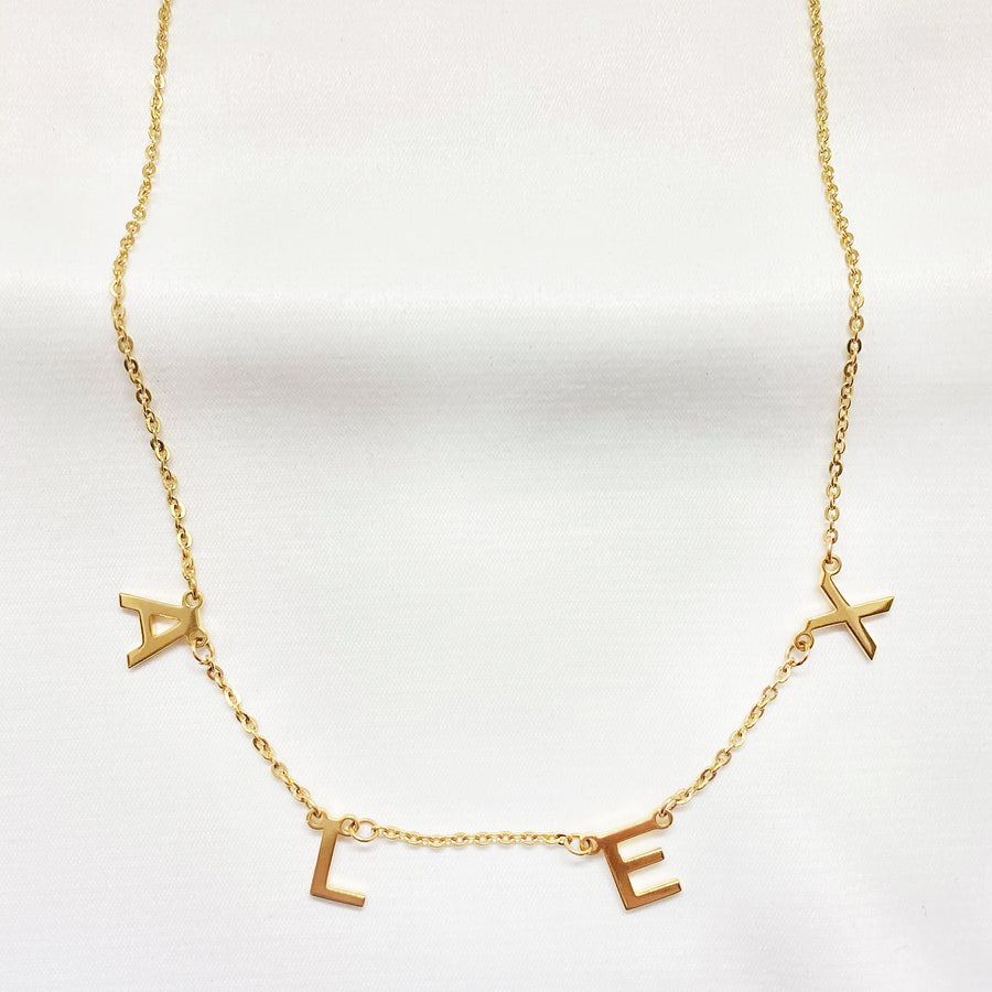 gold custom name necklace personalised