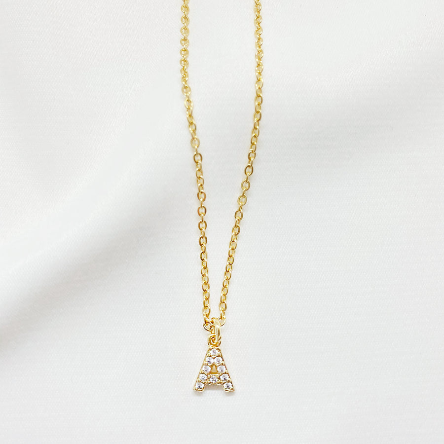 mini gold fashion initial letter necklace cubic zirconia