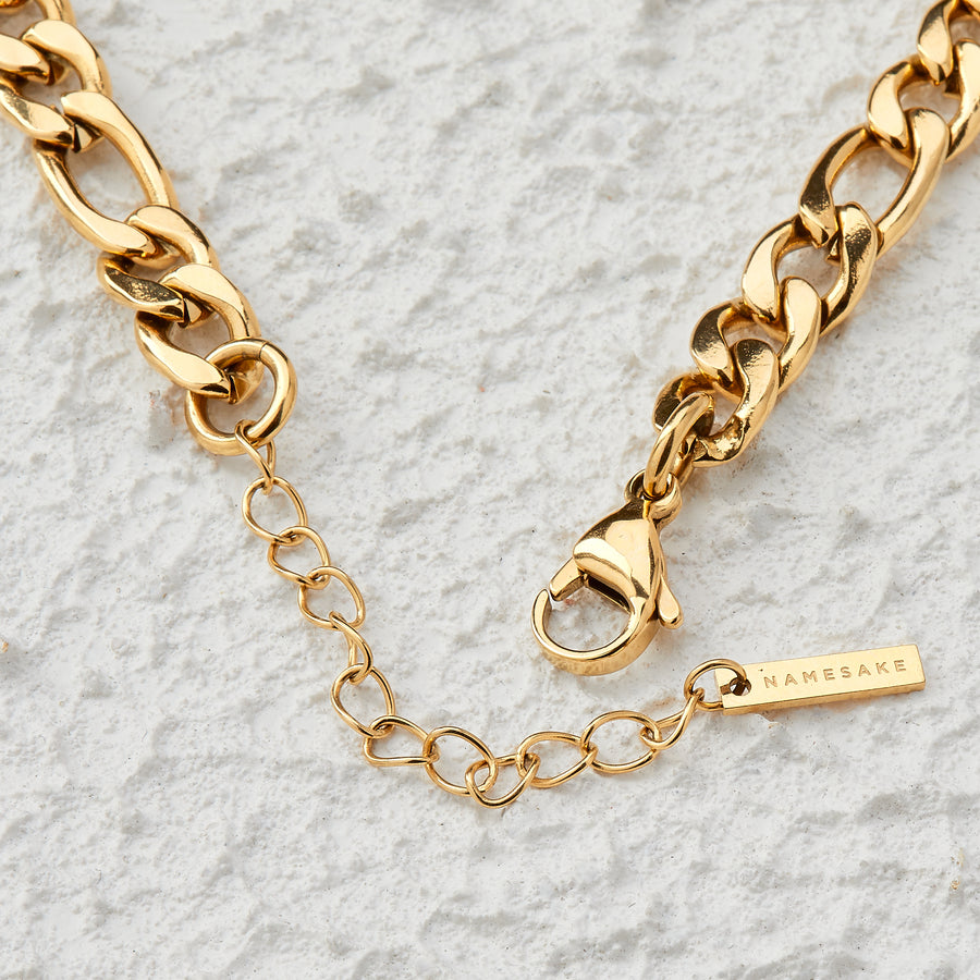 MAXI FIGARO DROP NECKLACE | GOLD | 35CM + 15CM DROP