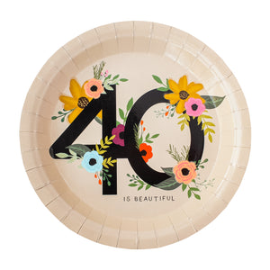 40 is Beautiful Birthday Party Plates