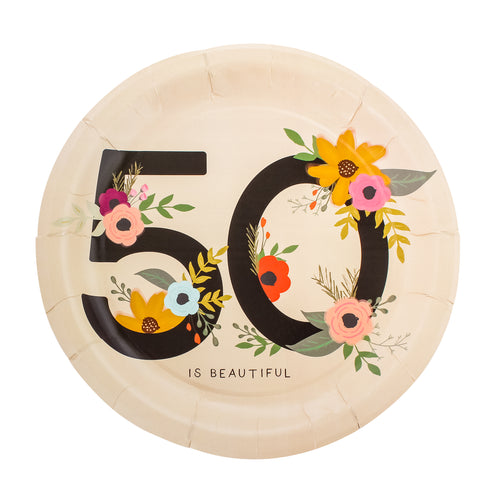 50 is Beautiful Birthday Party Plates