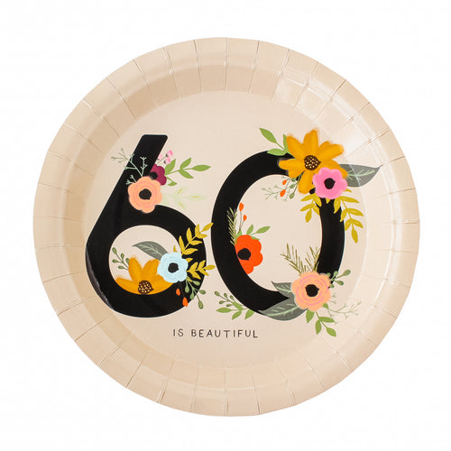 60 is Beautiful Birthday Party Plates
