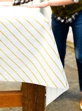 Load image into Gallery viewer, Gold Stripe Paper Tablecloth