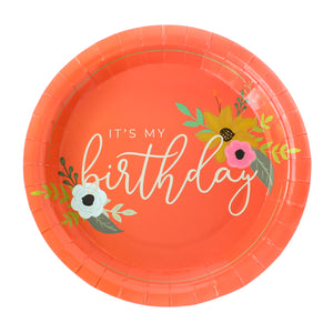 It's My Birthday Coral Party Plates