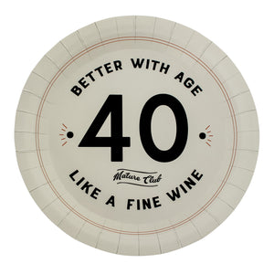 Mature Club 40th Birthday Party Plates