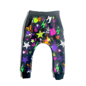 Neon Party Harem Pants Full Pattern