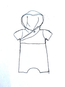 Organic Pop Shortie Onesie Full Pattern